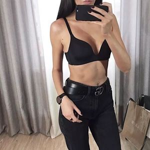 Black seamless plunge bra